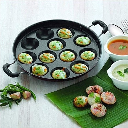 Non-Stick 12 Cavity Appam Patra Side Handle with lid