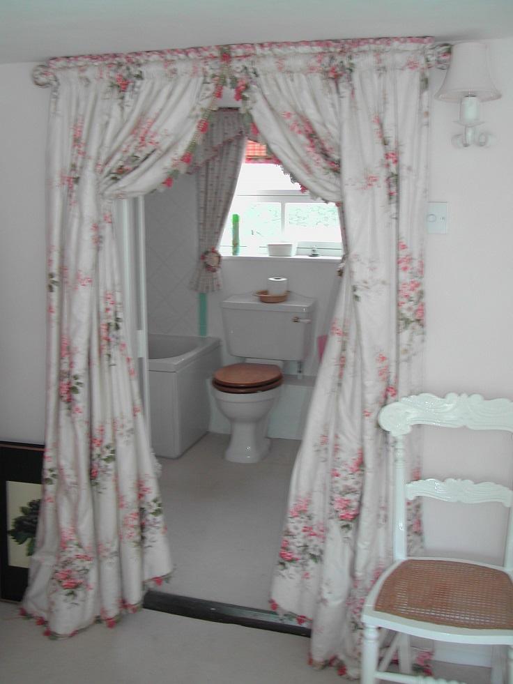 bathroom door privacy curtain image