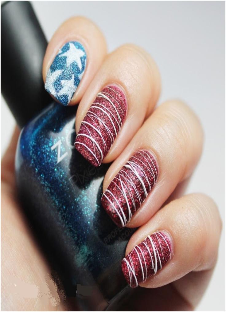 Textured American Flag Nail Art