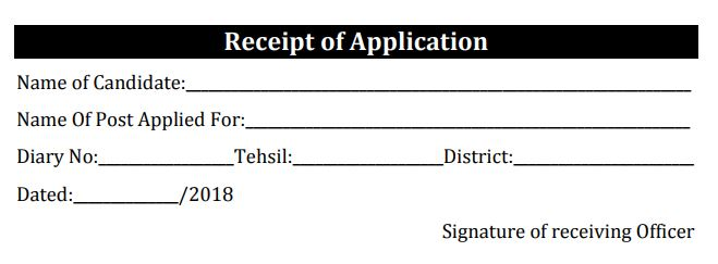 Receipt Of application