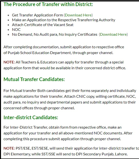 Procedure for Teacher Transfer 2018