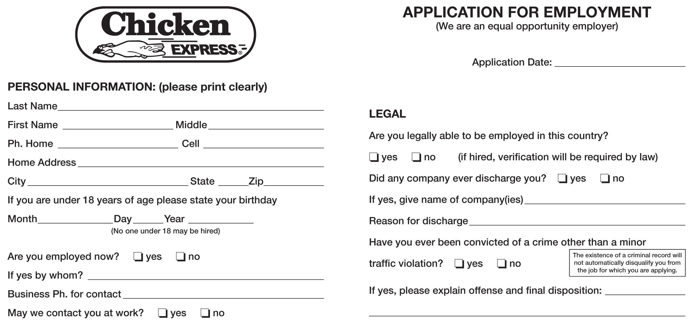 Chicken Express Job Application
