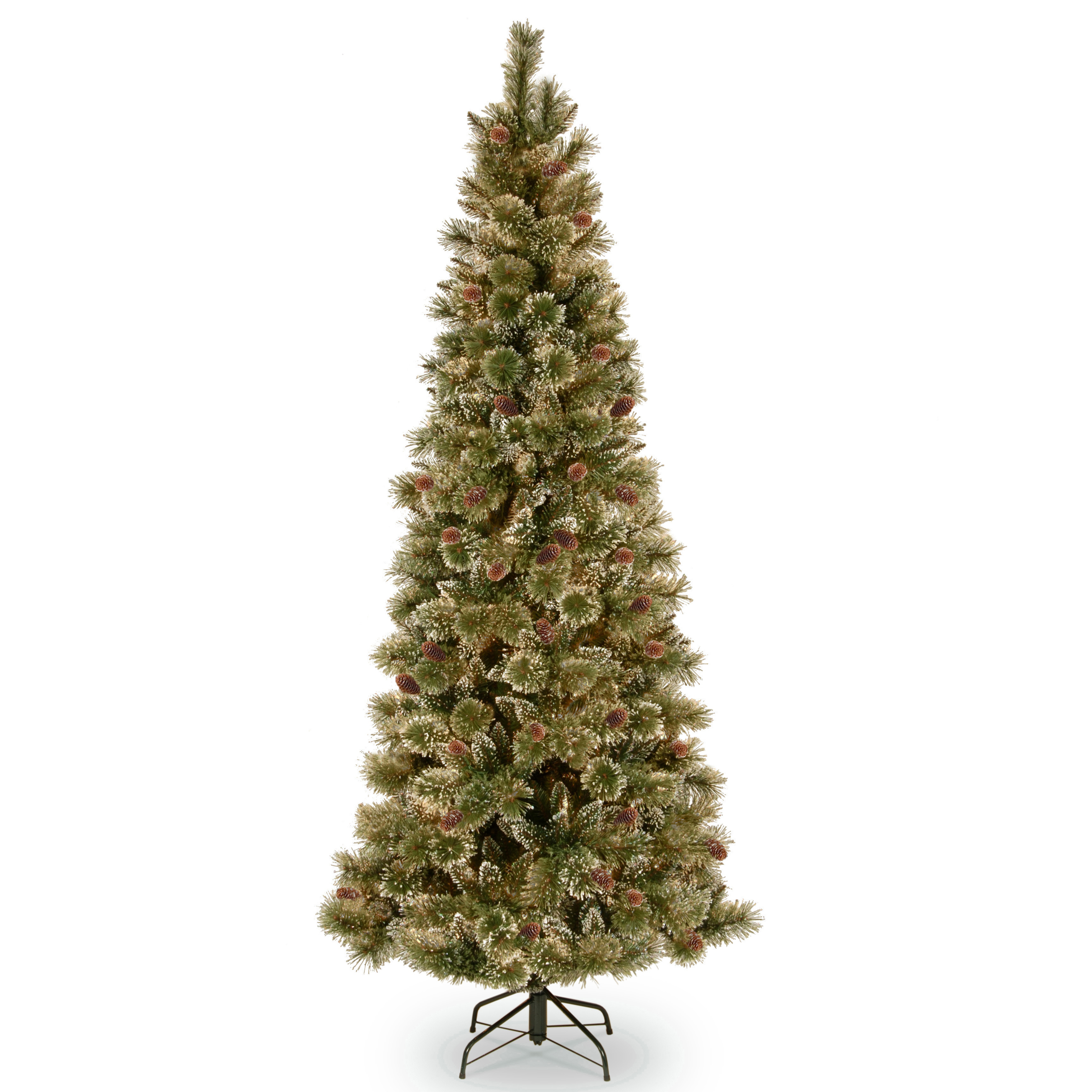 National Tree Company Glittery Bristle Pine 24 In Artificial Wreath With Warm White LED Lights