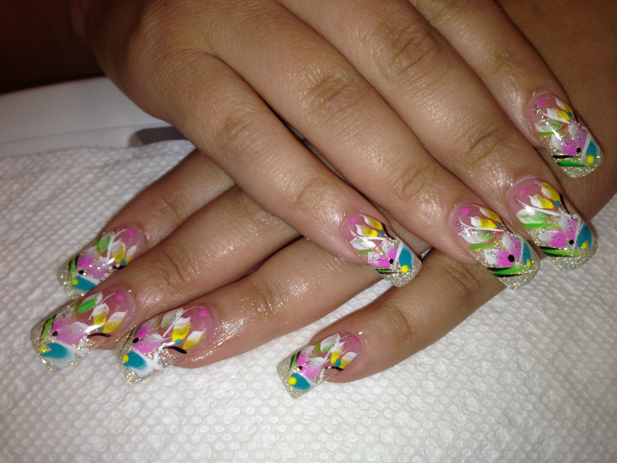 Diamond Lilies, nail art designs by Top Nails, Clarksville TN. | Top ...