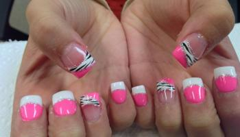 Pink Leopard On A Zebra Nail Art Designs By Top Nails Clarksville