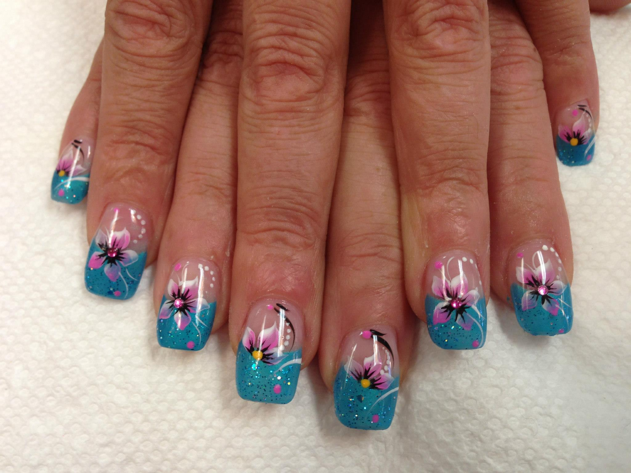 lily of ocean nail art design
