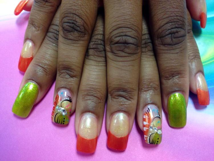 Choice: Shiny lime green nail OR Shiny orange tip under shiny white nail OR Angled shiny lime green/shiny white/whiny orange banded tip, 3 diamond glue-ons, black/white/blue/pink swirls, white dots.