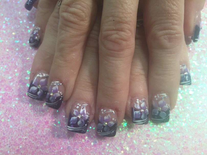 Sparkly dark purple tip with lavender/white stargazer lily, shite/sparkly swirls, white/lavender dots.