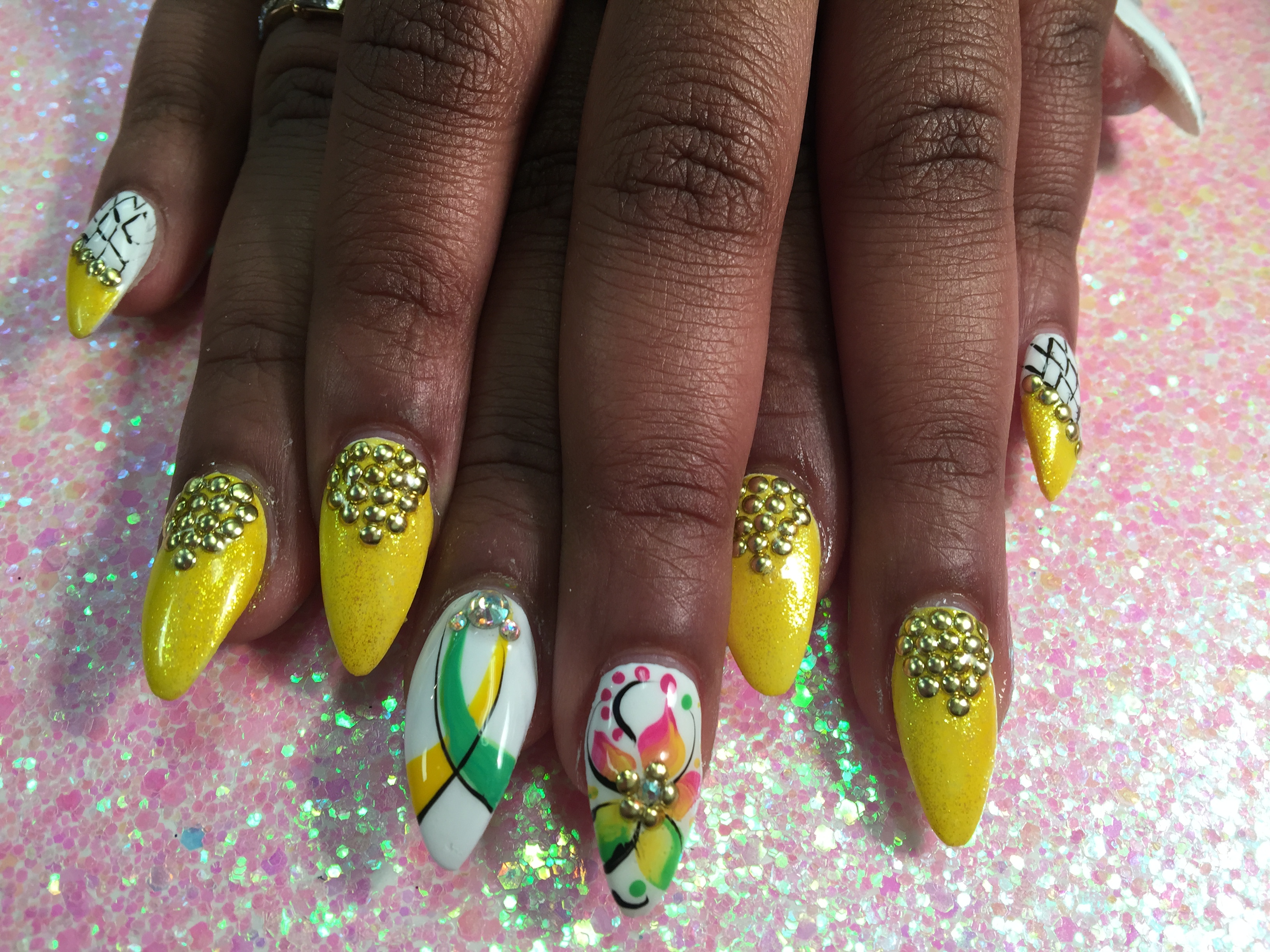 Jamaican Vacation, nail art designs by Top Nails, Clarksville TN ...