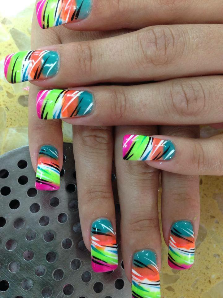 Angled Bright pink tip, under angled neon green, white, peach, and turquoise - Multi-colored Tiger, Nail Art Designs By Top Nails, Clarksville TN
