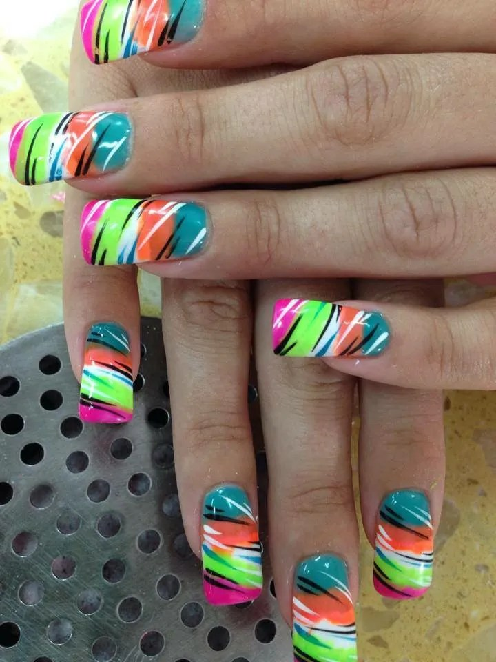 Multi-colored Tiger, nail art designs by Top Nails, Clarksville TN ...