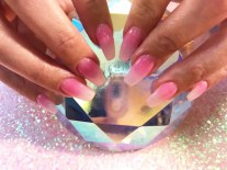 Ombre dark pink & white glitter