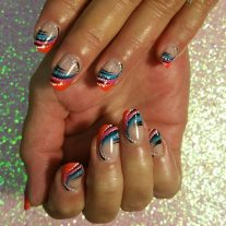 Gel manicure, mixed colors with lineworks
