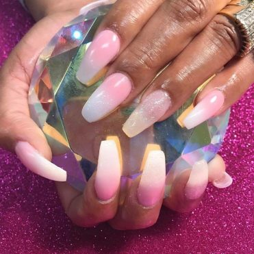 Ombre pink and white, long nails