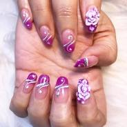 SNS ombre nails with 3D flowers