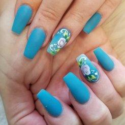 Full set gel polish with rose nail art.