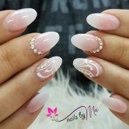 Pretty pink and white ombre, blink nail art