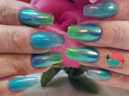 Mermaid ombre dip powder nails with chrome mirror effect