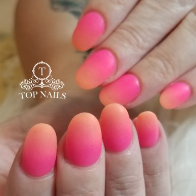 Strawberry Peach 🍓🍑. SNS dip powder ombre nails with matte top coat