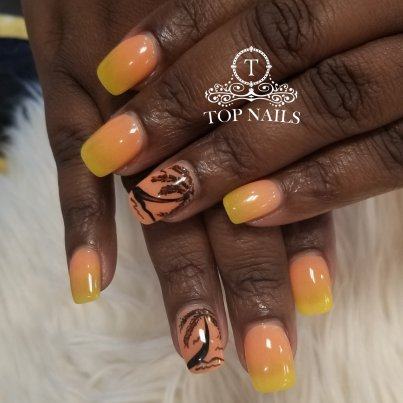 Healthy SNS dip powder ombre nails with palm tree design