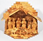 Olivewood Large Full Set Nativity Modern W 12 Pieces from Bethlehem