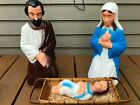 Empire Blow Mold Nativity Set Mary Joseph  Jesus Manger Christmas Decoration