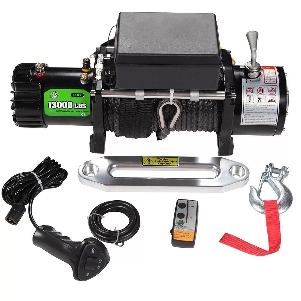 BOAR Jeep Winch (with Stainless Steel Cable and 13000lb Load Capacity)