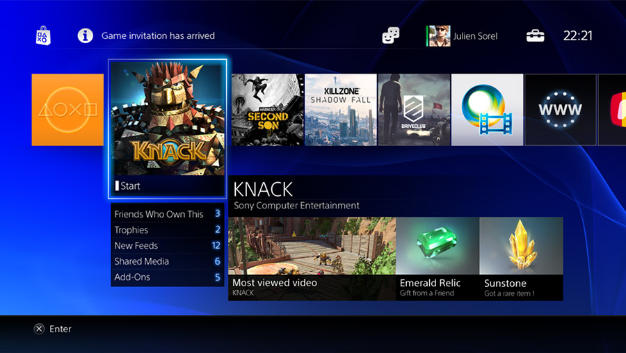 PS4 Menu Screen