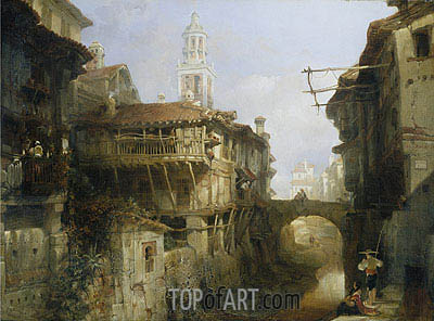 Old Buildings on the Darro Granada David Roberts Painting Reproduction 7850 at