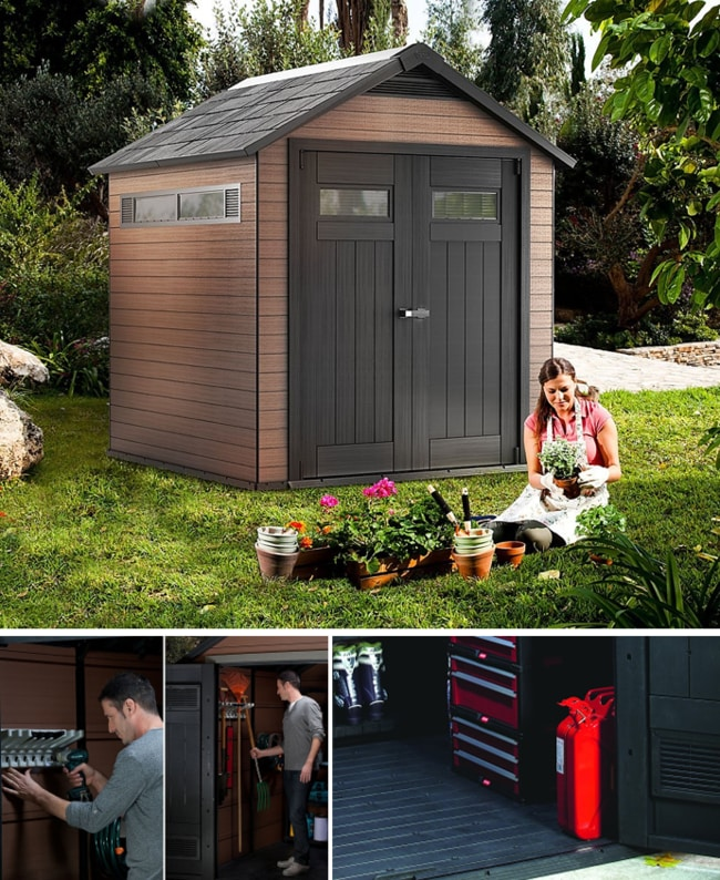 Best Outdoor Storage Sheds On The Market - Keter Fusion Large Plastic Wood Composite Storage Shed