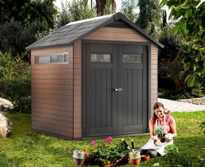 Keter Fusion 7.5x7.3ft Wood and Plastic Composite Outdoor Storage Shed Mahogany