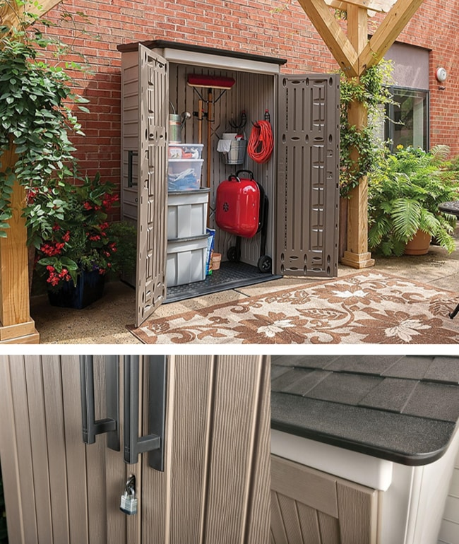Rubbermaid Plastic Large Vertical Outdoor Storage Shed For Your Backyard
