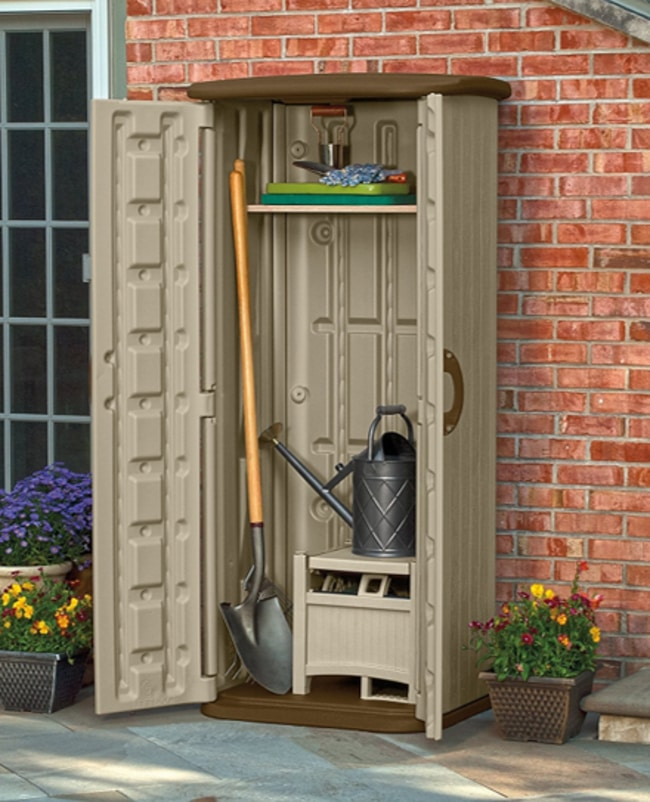 Suncast Resin Vertical Utility Shed For Outdoors