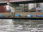 A rare sighting in Tokyo - a homeless encampment along the Sumida river