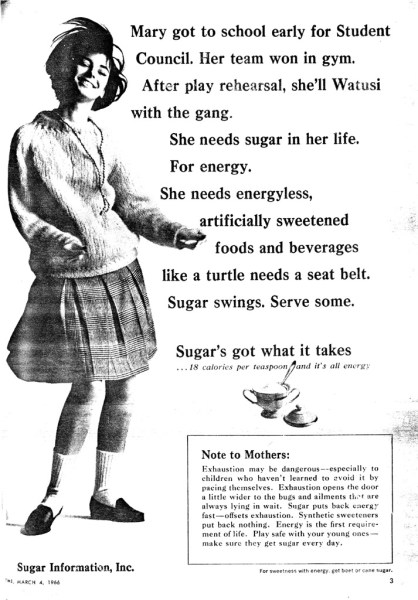 1966 ad for sugar in Time magazine