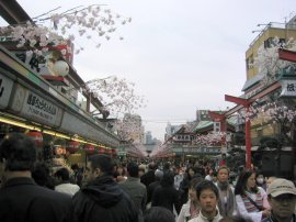 The Nakamise - a shopping street leading to the Hozomon (Senso-ji's second entrance gate)