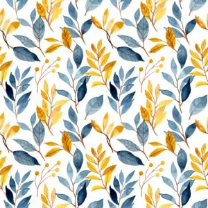 Blue Yellow Leaves Watercolor Seamless