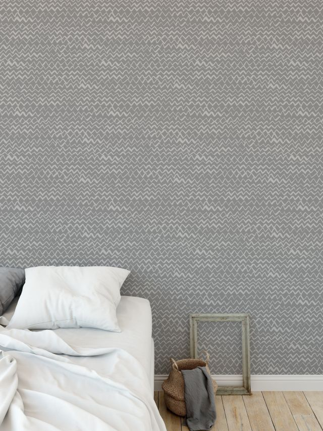 CHEVRON MOUNTAINS GREY Peel and Stick Wallpaper By Kavka Designs - 2ft x 16ft