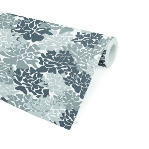 PEONIES GREY Peel and Stick Wallpaper By