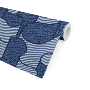 RIBBON NAVY Peel and Stick Wallpaper By