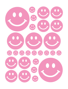 SMILEY FACE WALL DECALS IN SOFT PINK