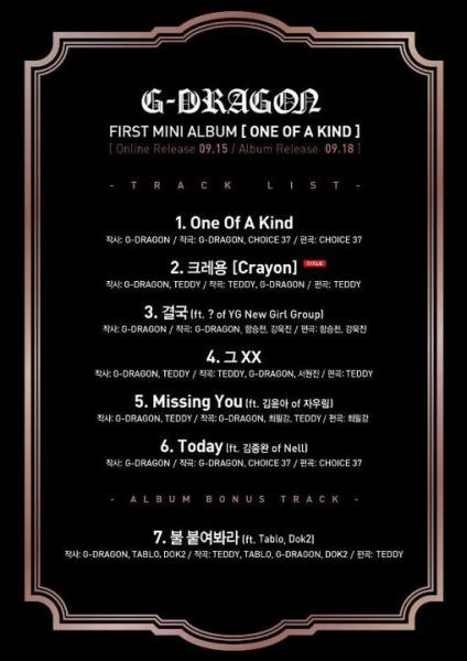 "G-Dragon ""One of a Kind"" mini-album track list"