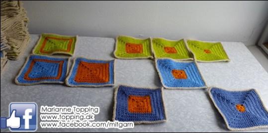 Hæklet tæppe - mønster lapper tælles