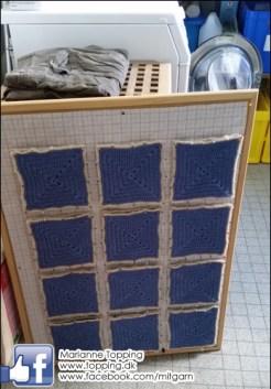 Hæklet tæppe - 24 lapper blokkes af gangen