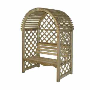 Bosmere PERVIC Rowlinson Victoria Arbor with Seat and Lattice BackSides, Natural Finish