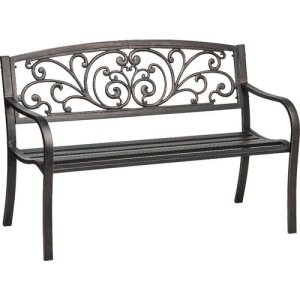 Cast Iron and Powder Coated Steel Ivy Bench
