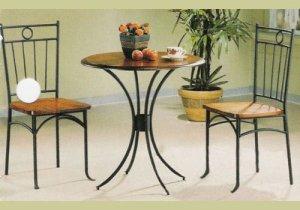 Coaster 5939 Metal and Wood 3-Piece Bistro TableChair Set