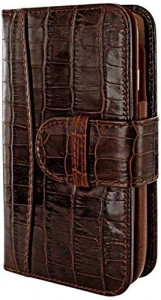 Apple iPhone 6 Plus 6S Plus Piel Frama 687 Brown Crocodile Leather Wallet