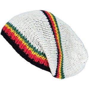 Asian Idyllica Rasta Stripe Handmade Crochet Beanie One Size Ivory White