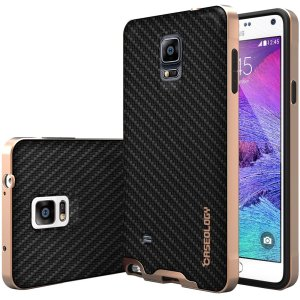 Galaxy Note 4 case, Caseology® [Envoy Series] [Carbon Fiber Black] Premium Leather Bumper Cover [Leather Textured] Samsung Galaxy No